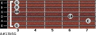 A#13b5/G for guitar on frets 3, 7, 6, 3, 3, 3