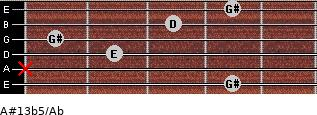 A#13b5/Ab for guitar on frets 4, x, 2, 1, 3, 4