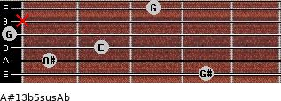 A#13b5sus/Ab for guitar on frets 4, 1, 2, 0, x, 3