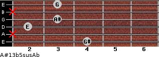 A#13b5sus/Ab for guitar on frets 4, x, 2, 3, x, 3