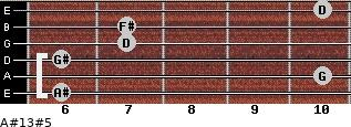 A#13#5 for guitar on frets 6, 10, 6, 7, 7, 10