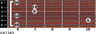 A#13#5 for guitar on frets 6, 10, 6, 7, 7, 6