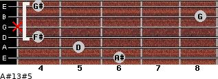 A#13#5 for guitar on frets 6, 5, 4, x, 8, 4