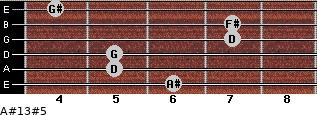 A#13#5 for guitar on frets 6, 5, 5, 7, 7, 4