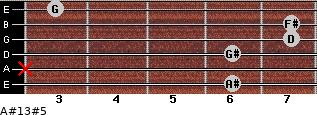 A#13#5 for guitar on frets 6, x, 6, 7, 7, 3