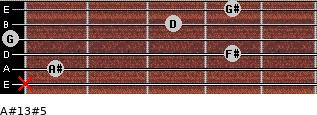 A#13#5 for guitar on frets x, 1, 4, 0, 3, 4