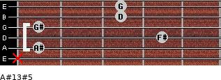 A#13#5 for guitar on frets x, 1, 4, 1, 3, 3