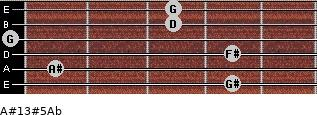 A#13#5/Ab for guitar on frets 4, 1, 4, 0, 3, 3