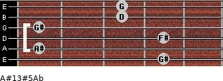 A#13#5/Ab for guitar on frets 4, 1, 4, 1, 3, 3