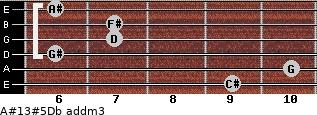 A#13#5/Db add(m3) for guitar on frets 9, 10, 6, 7, 7, 6