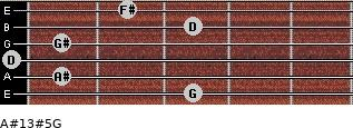 A#13#5/G for guitar on frets 3, 1, 0, 1, 3, 2
