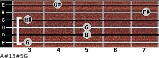 A#13#5/G for guitar on frets 3, 5, 5, 3, 7, 4