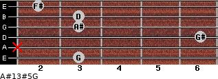 A#13#5/G for guitar on frets 3, x, 6, 3, 3, 2