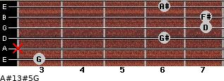 A#13#5/G for guitar on frets 3, x, 6, 7, 7, 6