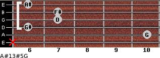 A#13#5/G for guitar on frets x, 10, 6, 7, 7, 6