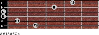A#13#5/Gb for guitar on frets 2, 1, 0, 0, 3, 4