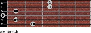 A#13#5/Gb for guitar on frets 2, 1, 0, 1, 3, 3