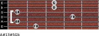 A#13#5/Gb for guitar on frets 2, 1, 4, 1, 3, 3