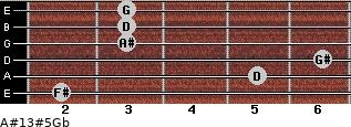 A#13#5/Gb for guitar on frets 2, 5, 6, 3, 3, 3