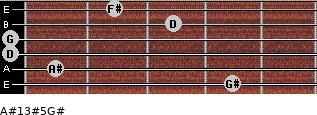 A#13#5/G# for guitar on frets 4, 1, 0, 0, 3, 2