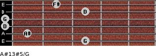 A#13#5/G for guitar on frets 3, 1, 0, 0, 3, 2