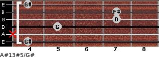 A#13#5/G# for guitar on frets 4, x, 5, 7, 7, 4