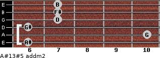 A#13#5 add(m2) for guitar on frets 6, 10, 6, 7, 7, 7