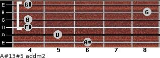 A#13#5 add(m2) for guitar on frets 6, 5, 4, 4, 8, 4