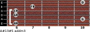 A#13#5 add(m3) for guitar on frets 6, 10, 6, 6, 7, 10