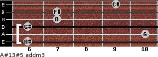 A#13#5 add(m3) for guitar on frets 6, 10, 6, 7, 7, 9