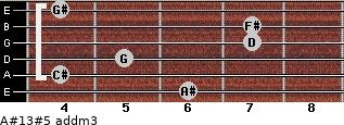 A#13#5 add(m3) for guitar on frets 6, 4, 5, 7, 7, 4