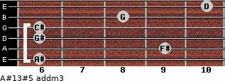 A#13#5 add(m3) for guitar on frets 6, 9, 6, 6, 8, 10