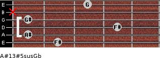 A#13#5sus/Gb for guitar on frets 2, 1, 4, 1, x, 3