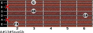 A#13#5sus/Gb for guitar on frets 2, x, 6, 3, x, 3