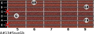 A#13#5sus/Gb for guitar on frets x, 9, 5, x, 9, 6