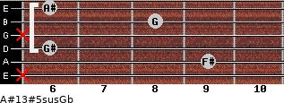 A#13#5sus/Gb for guitar on frets x, 9, 6, x, 8, 6