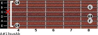 A#13sus/Ab for guitar on frets 4, 8, 8, x, 8, 4