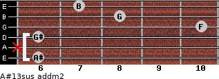 A#13sus add(m2) for guitar on frets 6, x, 6, 10, 8, 7