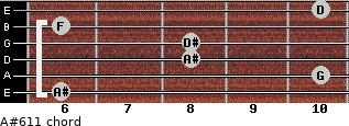 A#6/11 for guitar on frets 6, 10, 8, 8, 6, 10
