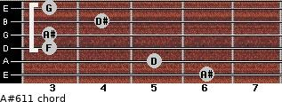 A#6/11 for guitar on frets 6, 5, 3, 3, 4, 3