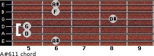 A#6/11 for guitar on frets 6, 5, 5, 8, 6, 6