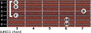A#6/11 for guitar on frets 6, 6, 3, 7, 3, 3