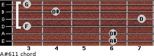 A#6/11 for guitar on frets 6, 6, 3, 7, 4, 3