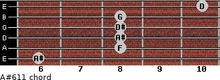 A#6/11 for guitar on frets 6, 8, 8, 8, 8, 10