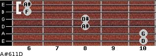 A#6/11/D for guitar on frets 10, 10, 8, 8, 6, 6