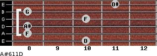 A#6/11/D for guitar on frets 10, 8, 8, 10, 8, 11