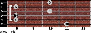 A#6/11/Eb for guitar on frets 11, 8, 8, 10, 8, 10