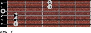 A#6/11/F for guitar on frets 1, 1, 1, 0, 3, 3
