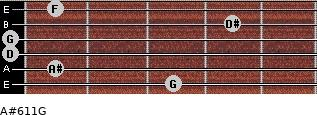 A#6/11/G for guitar on frets 3, 1, 0, 0, 4, 1