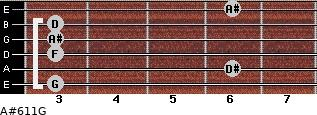 A#6/11/G for guitar on frets 3, 6, 3, 3, 3, 6